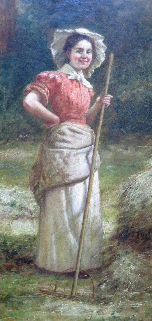August Laux (NY, 1847-1921) O/C Portrait of a farm lady - 2