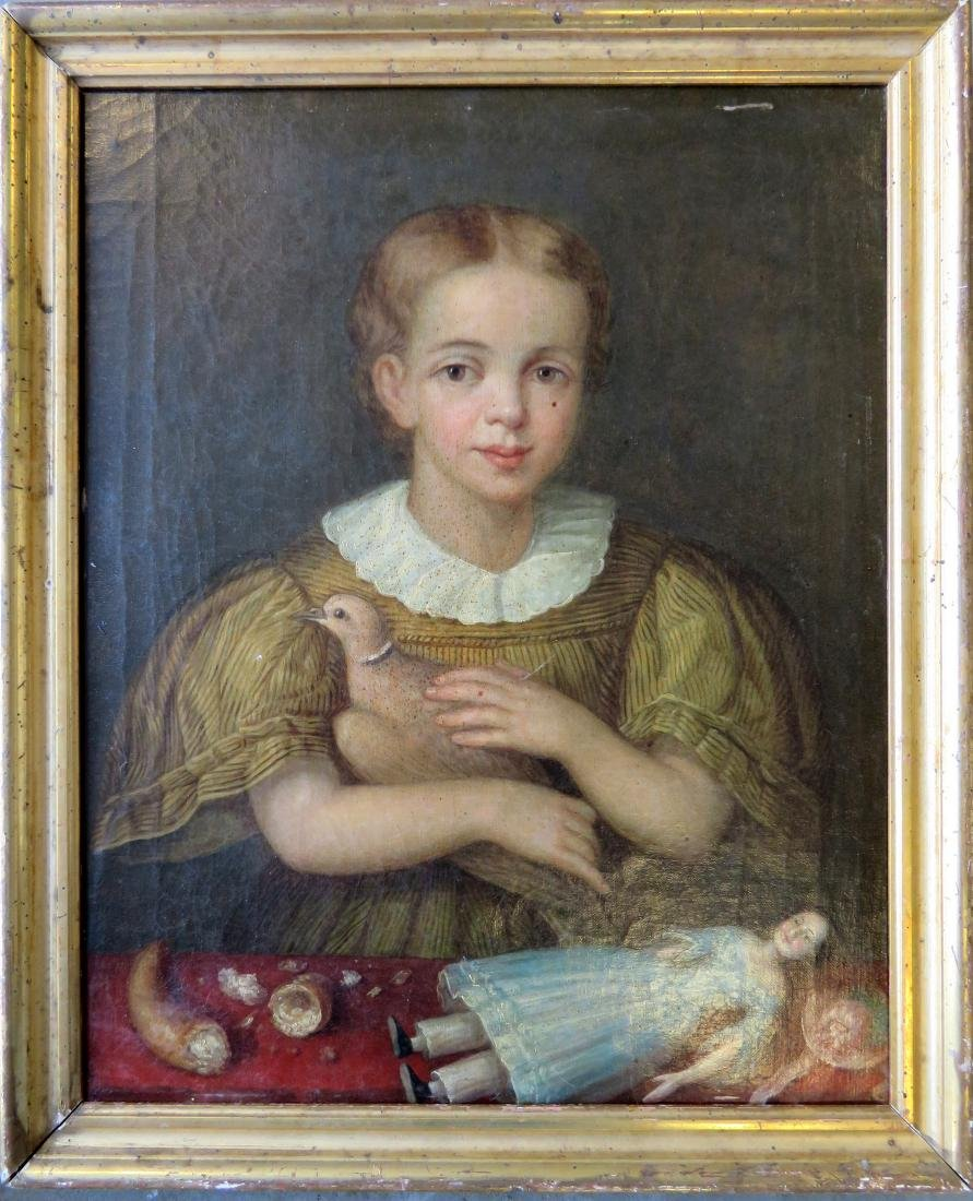 O/C Folk portrait of a beautiful young girl holding a