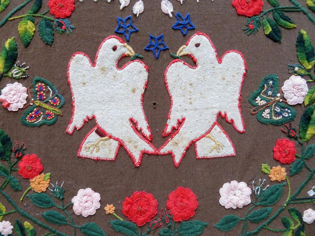 Early mounted embroidery depicting 2 love bird doves - 2