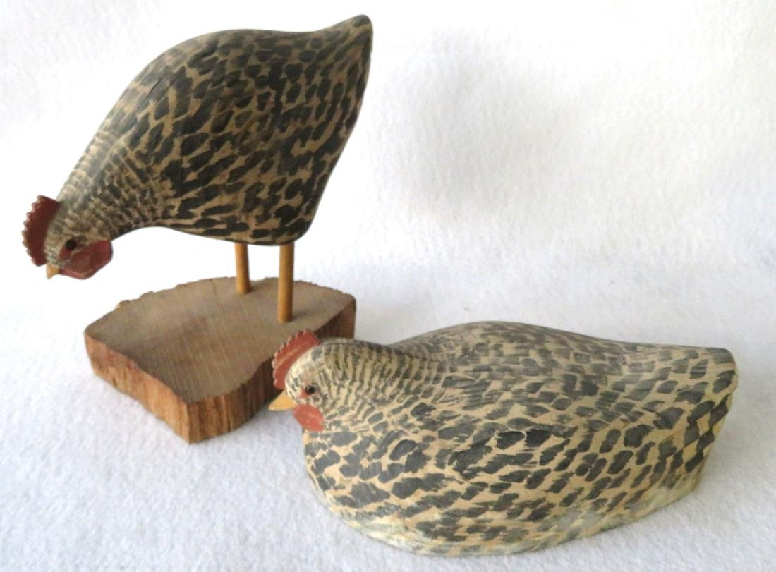 Grouping of 4 carved wooden folk art chickens with - 4
