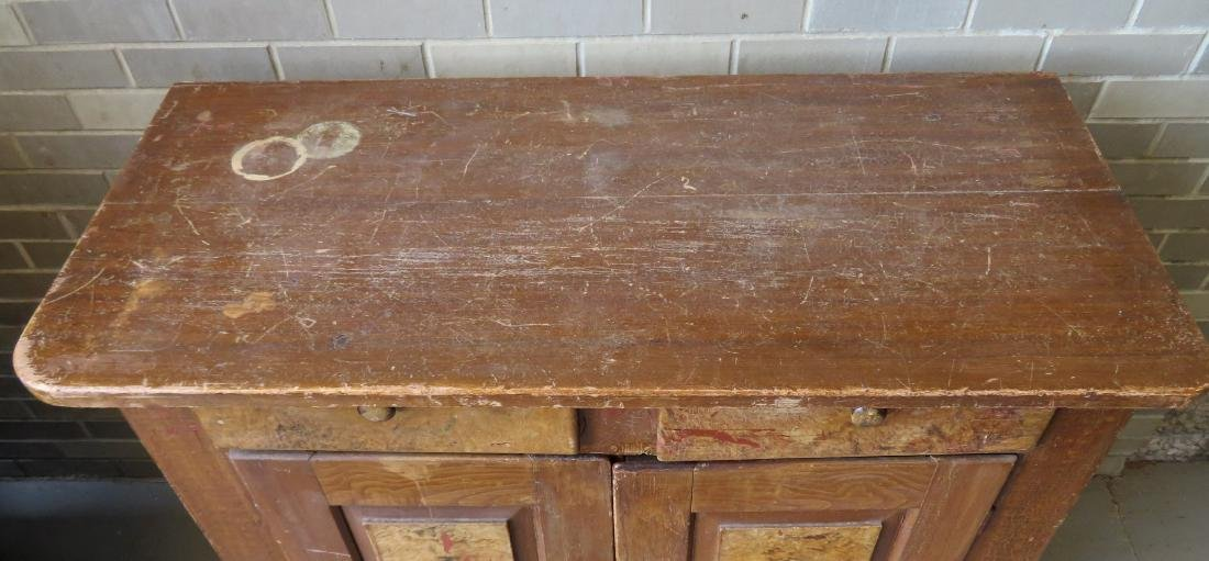 Grain painted cupboard having 2 drawers over 2 paneled - 3