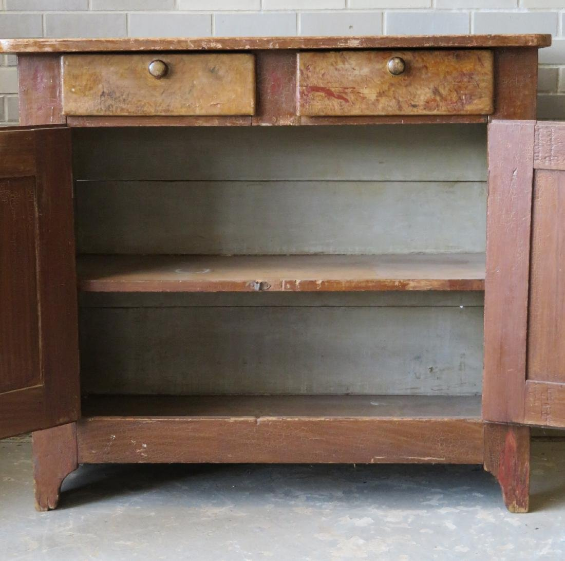 Grain painted cupboard having 2 drawers over 2 paneled - 4