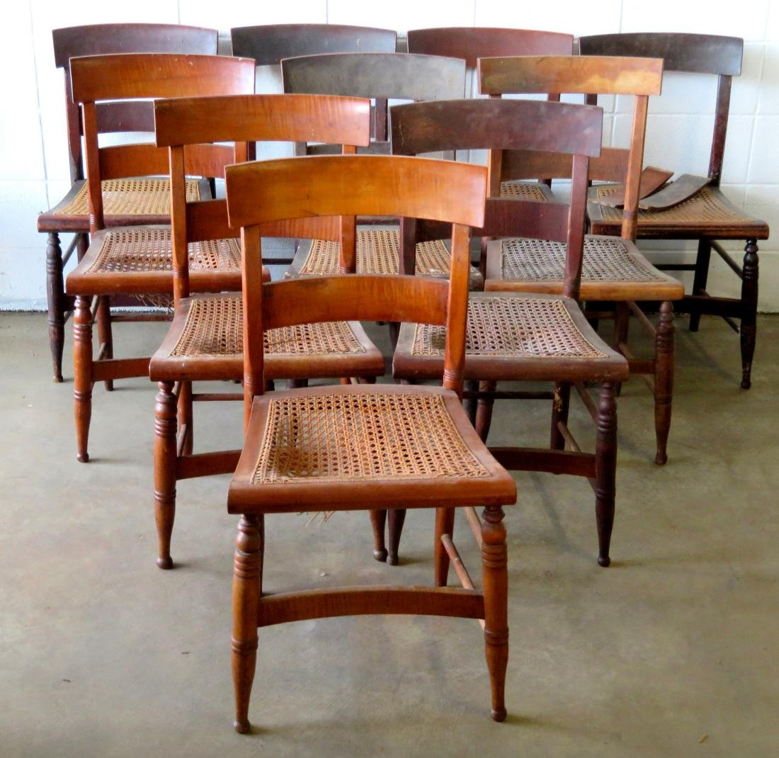 Set of 10 Sheraton maple and tiger maple DR chairs with