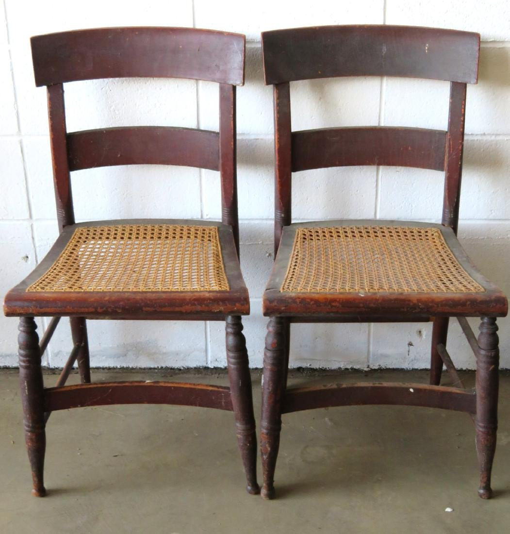 Set of 10 Sheraton maple and tiger maple DR chairs with - 2