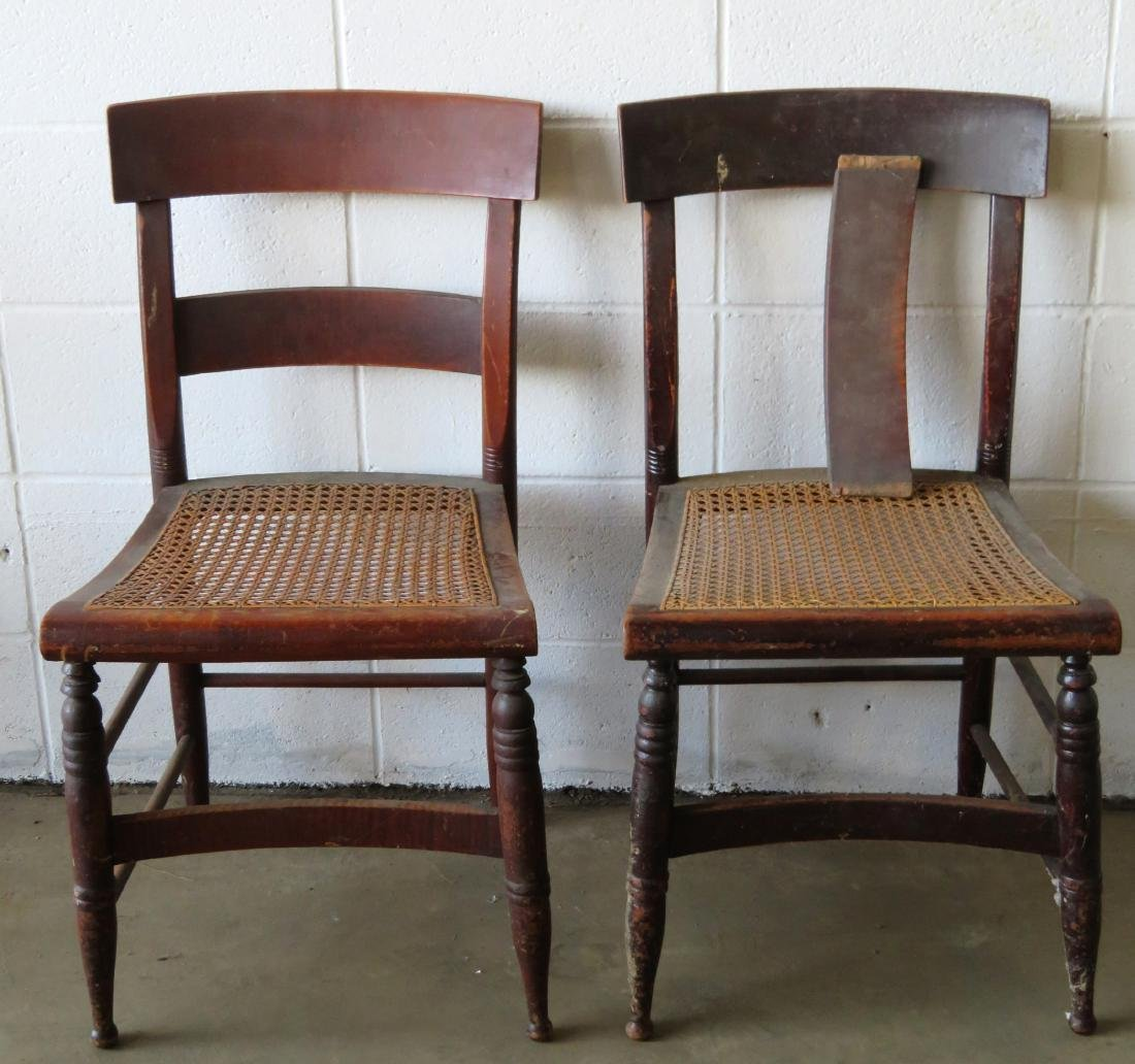 Set of 10 Sheraton maple and tiger maple DR chairs with - 3