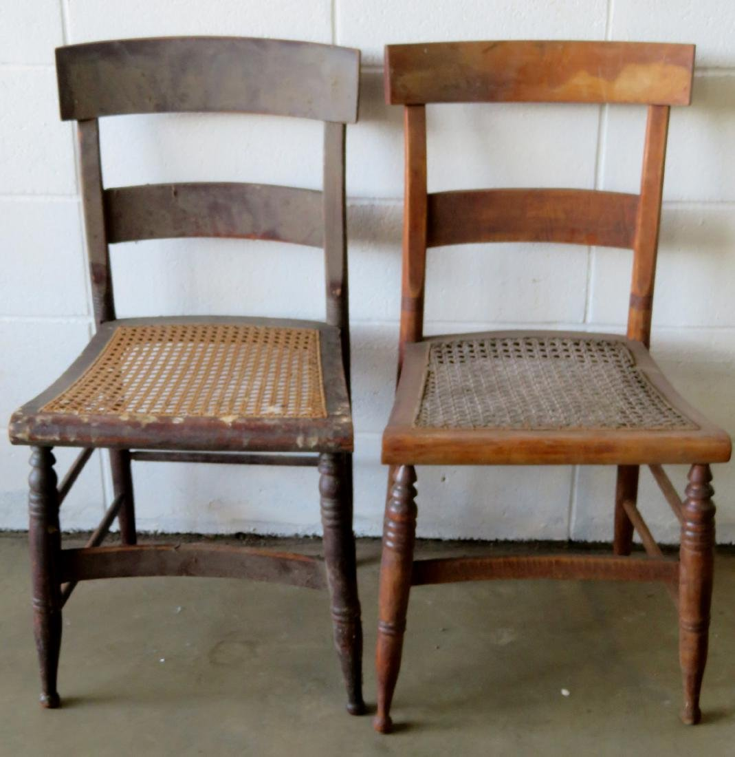 Set of 10 Sheraton maple and tiger maple DR chairs with - 4