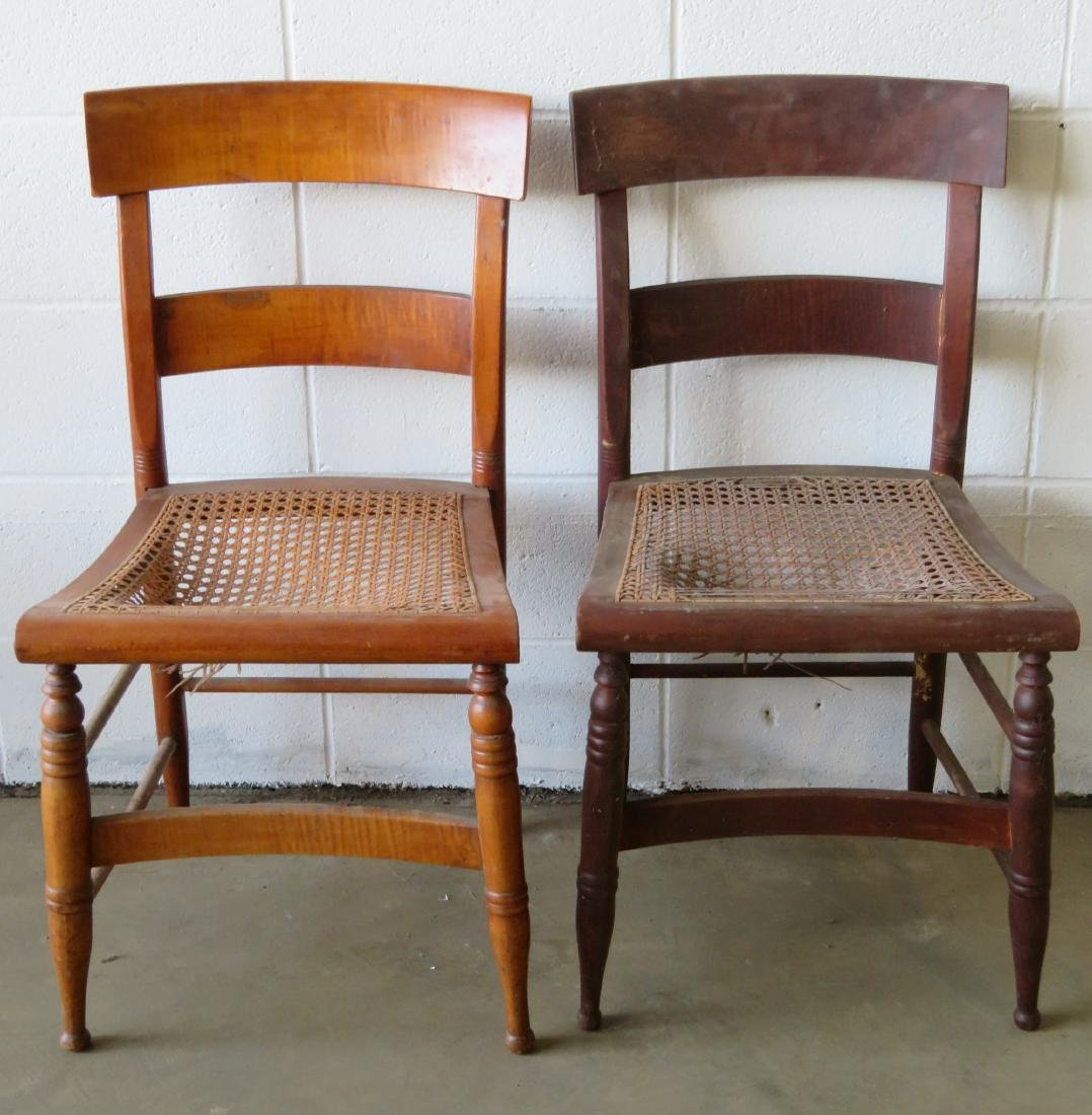 Set of 10 Sheraton maple and tiger maple DR chairs with - 5