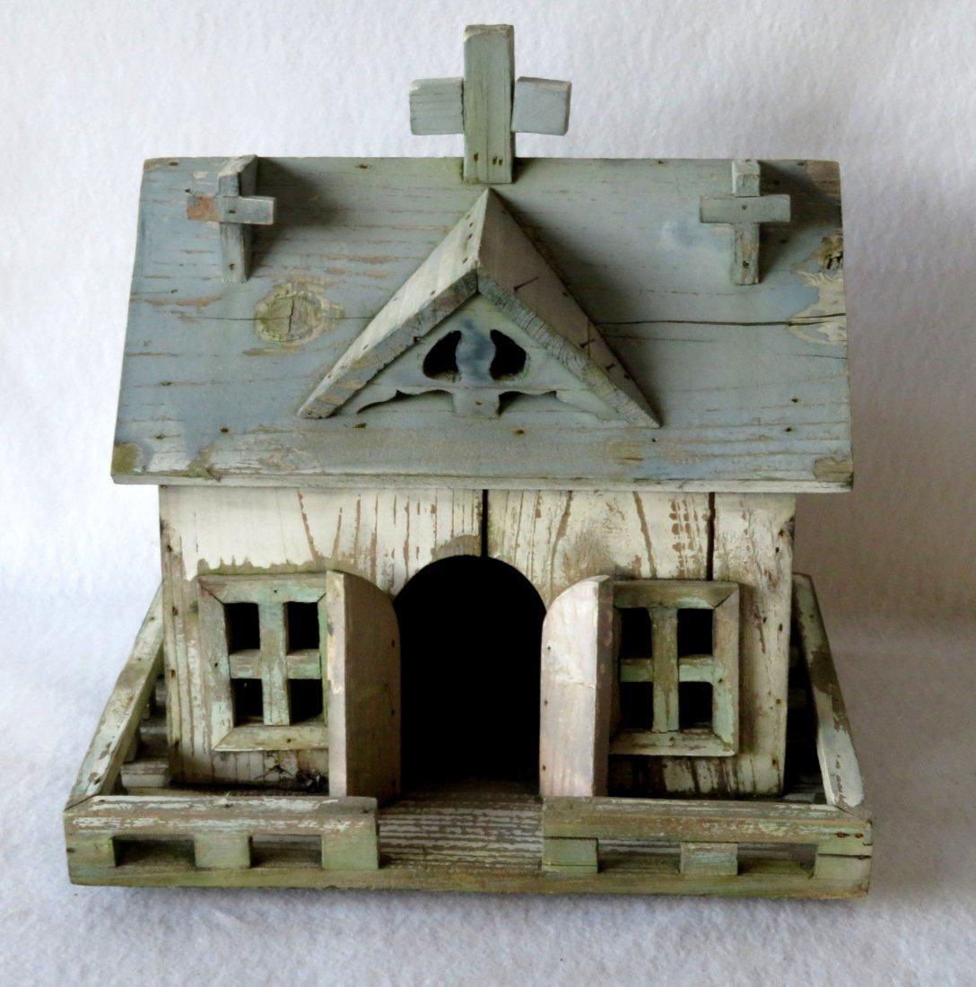 Folk art hand made wooden church/bird house in original