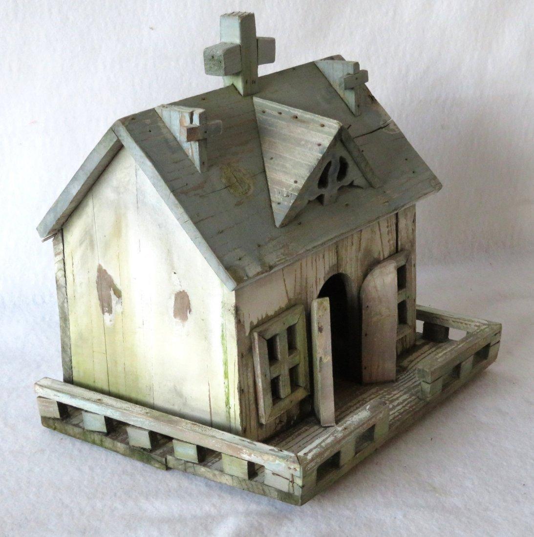 Folk art hand made wooden church/bird house in original - 2