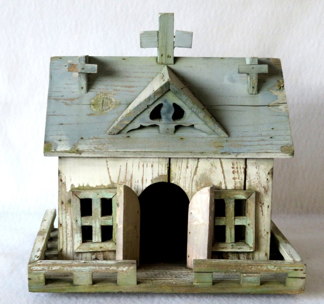 Folk art hand made wooden church/bird house in original - 3