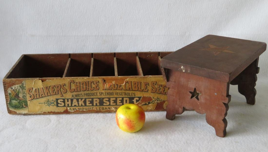 Two country items including a Shaker seed box from Mt.