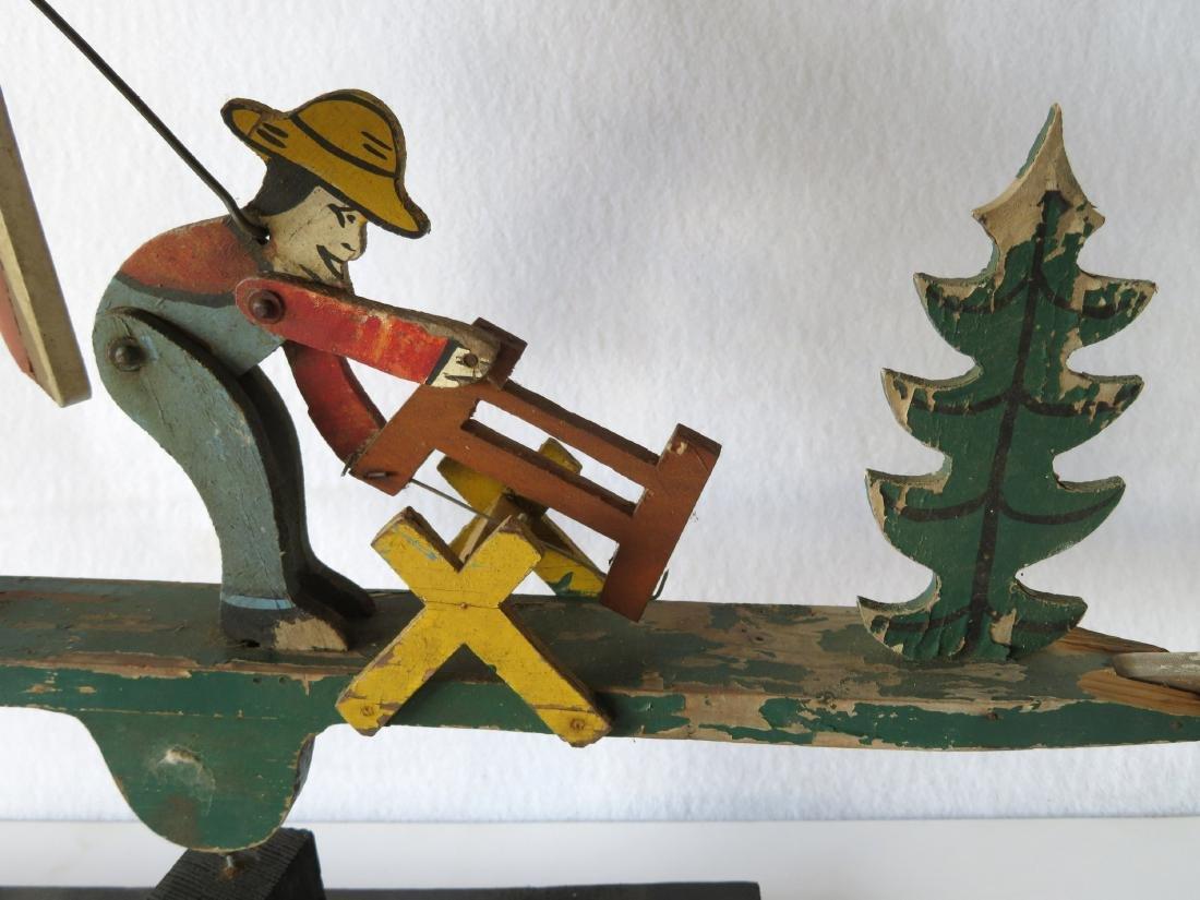 Three folk art whirligigs of man sawing log adjacent to - 6