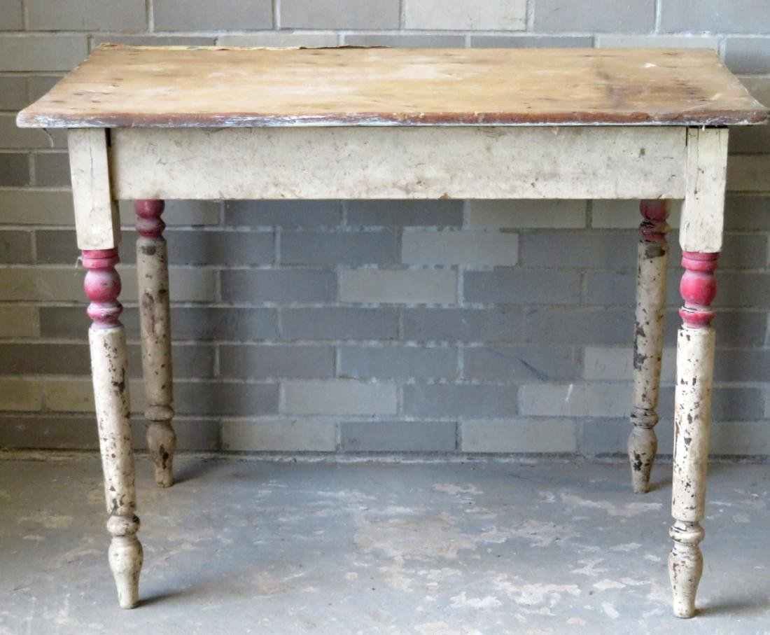 Small primitive kitchen work table with turned legs in