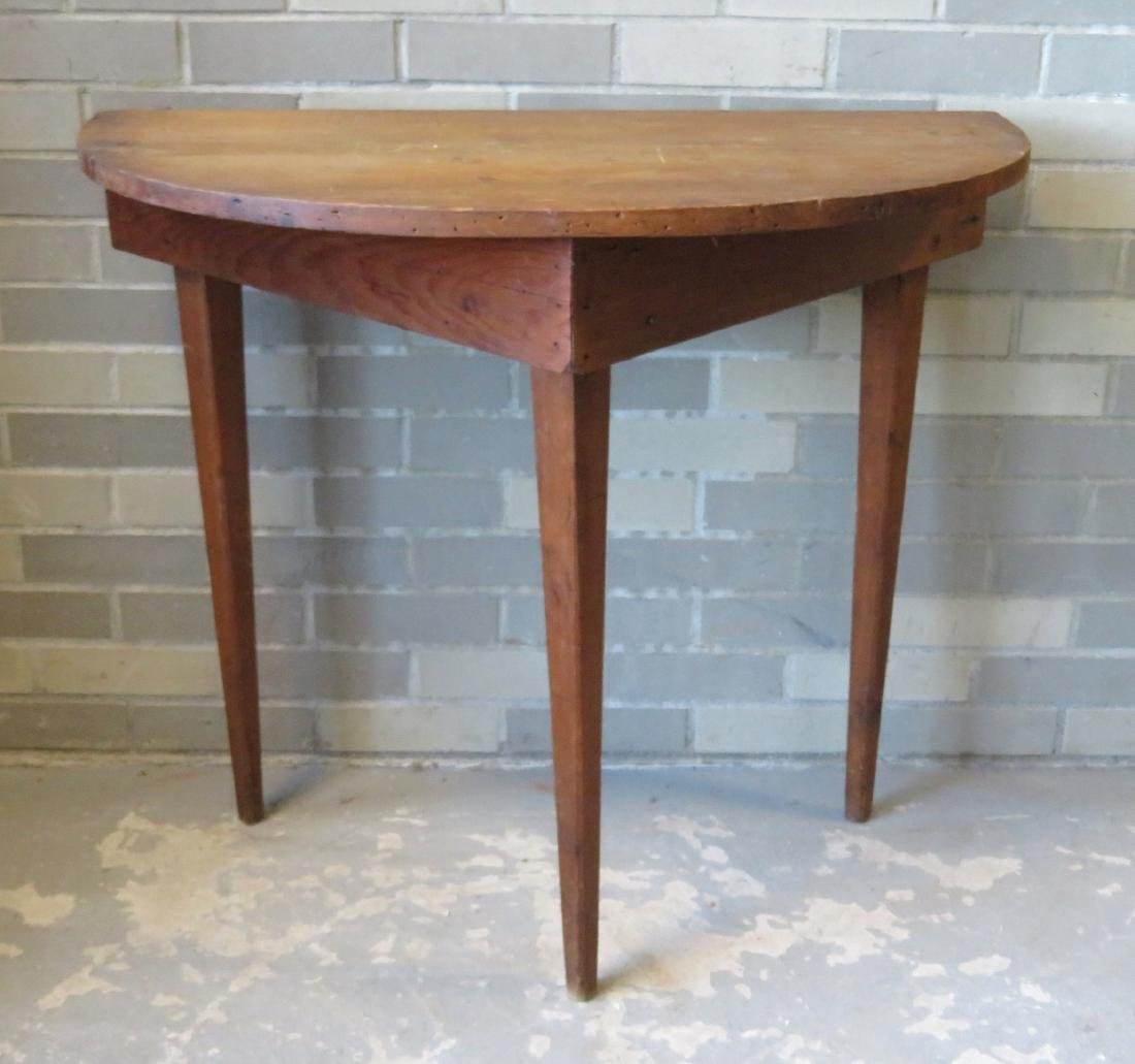 Half round pine/poplar wood console table with tapered