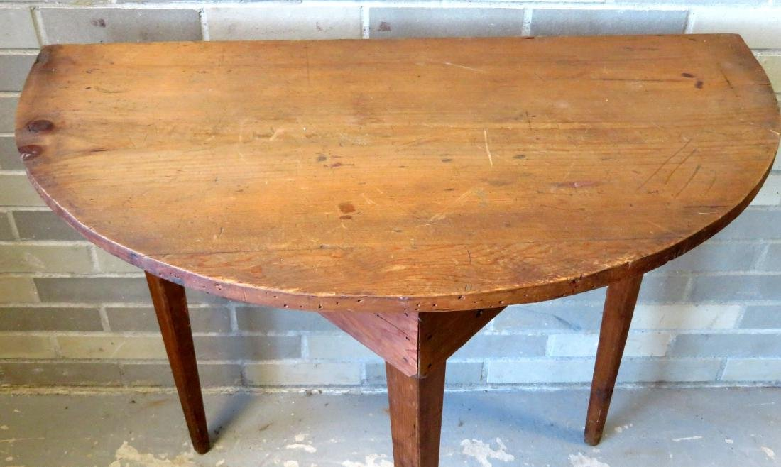 Half round pine/poplar wood console table with tapered - 2