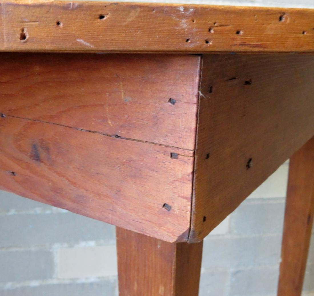 Half round pine/poplar wood console table with tapered - 3