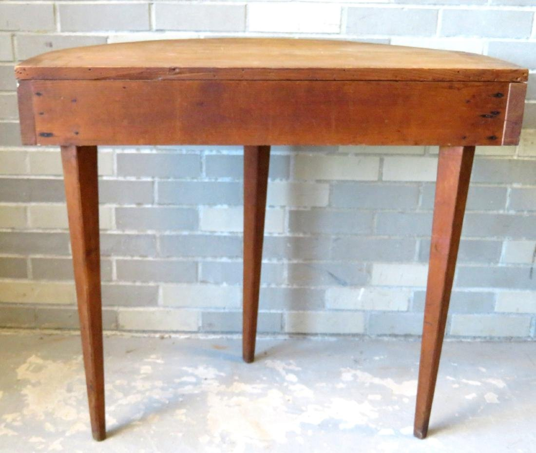 Half round pine/poplar wood console table with tapered - 4