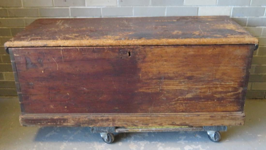 Primitive pine sea chest/cellarette with beckets,