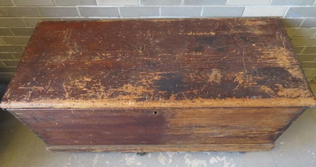 Primitive pine sea chest/cellarette with beckets, - 2