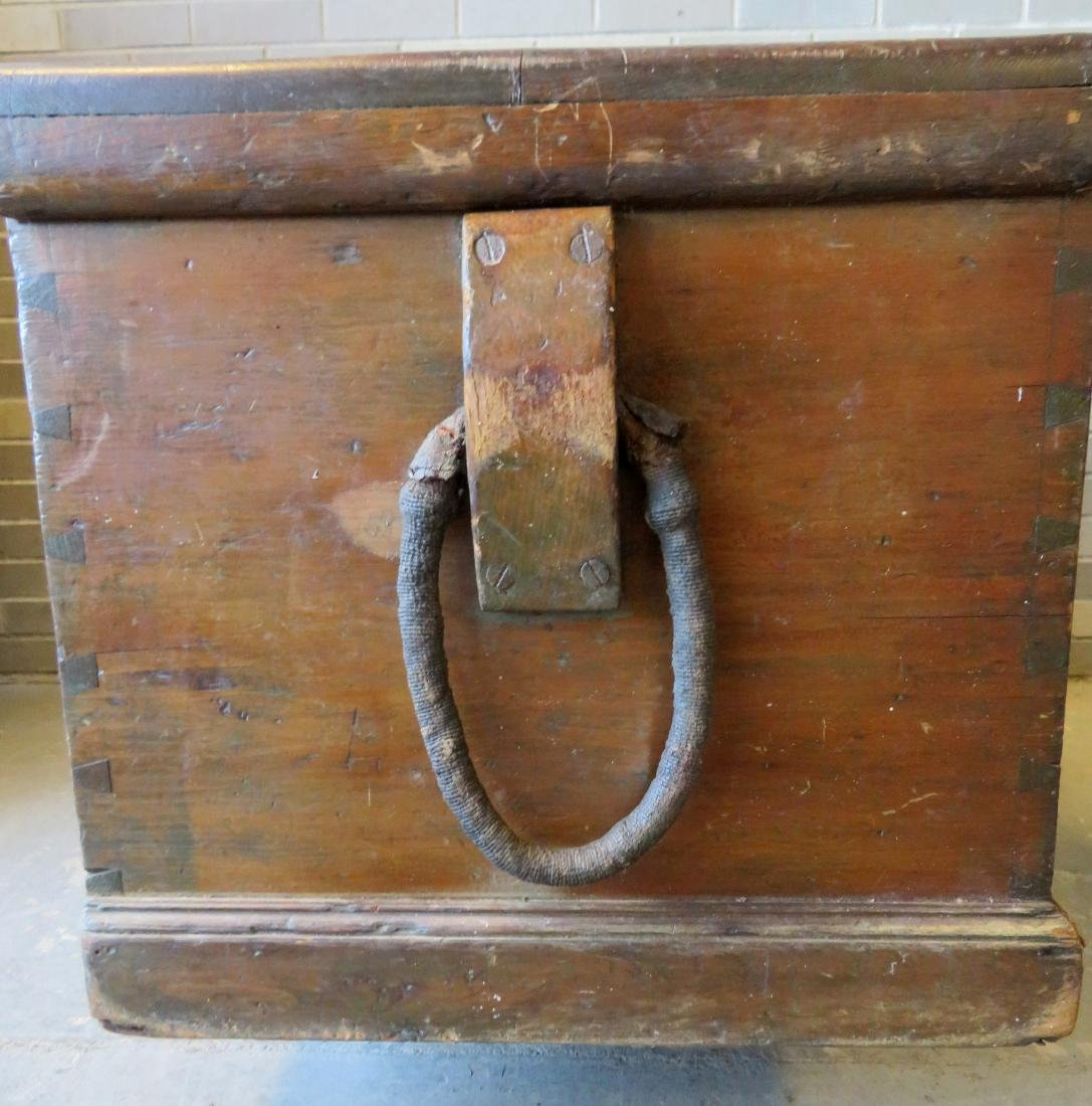 Primitive pine sea chest/cellarette with beckets, - 3