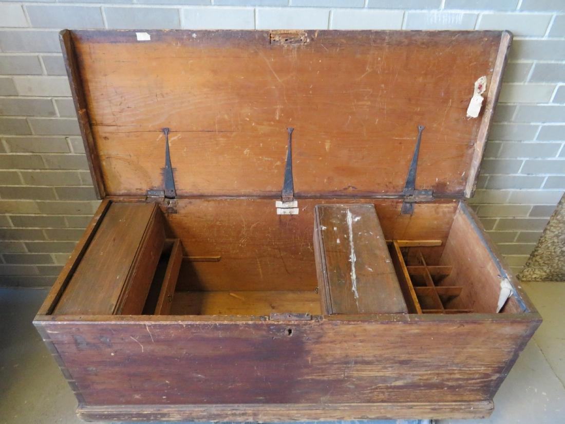Primitive pine sea chest/cellarette with beckets, - 6