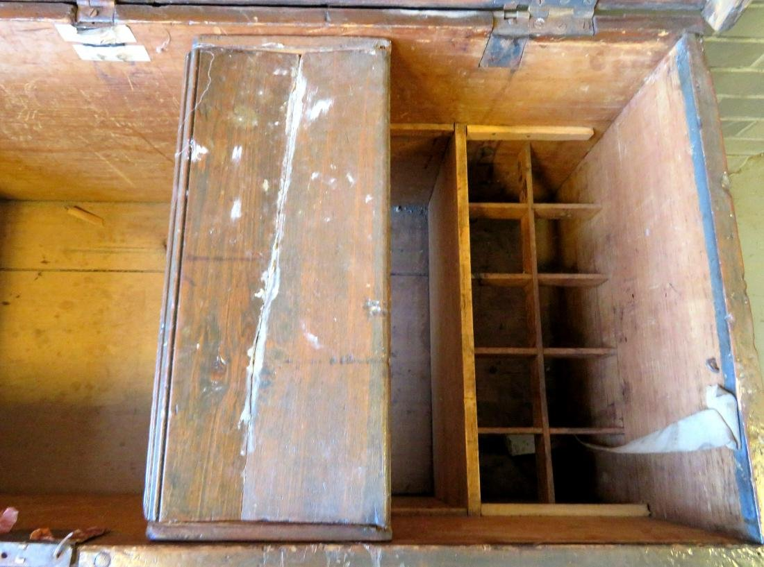 Primitive pine sea chest/cellarette with beckets, - 8