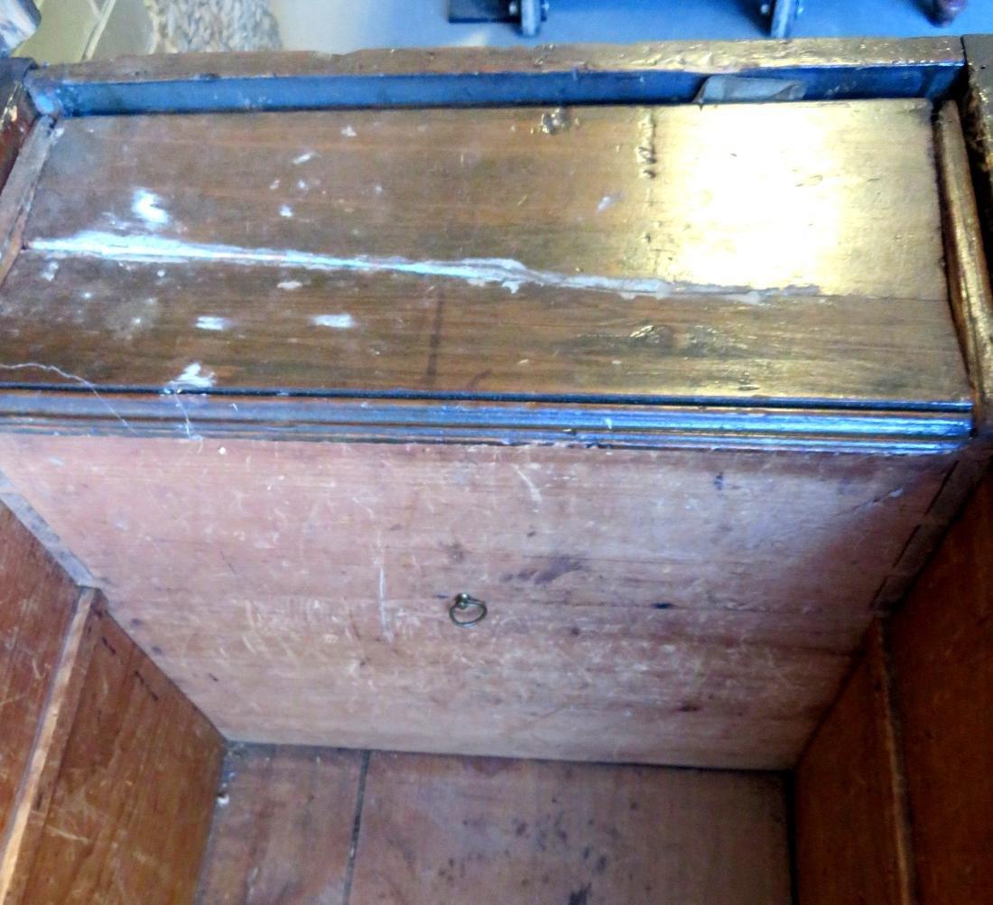 Primitive pine sea chest/cellarette with beckets, - 9