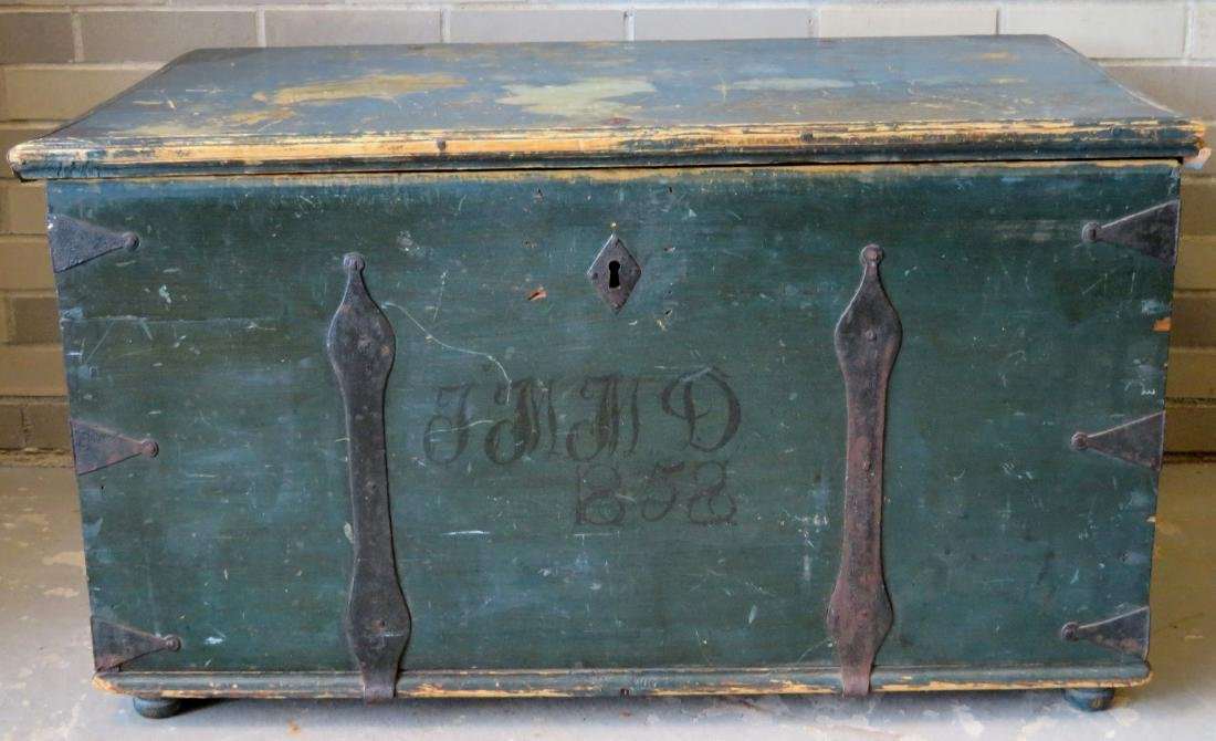 Blanket box in original blue paint and rust colored