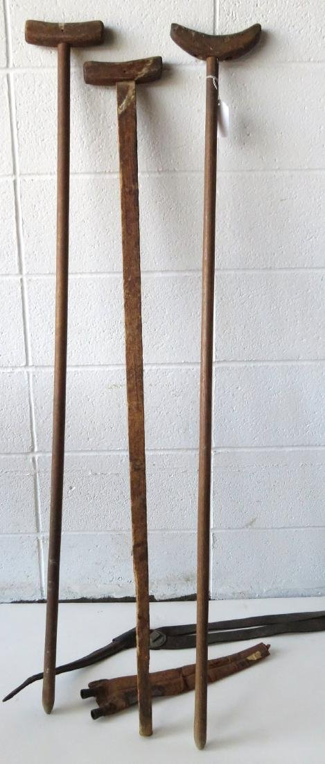 Three Civil War era crutches together with a 19th