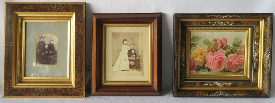Three beautiful Victorian picture frames, all with gold