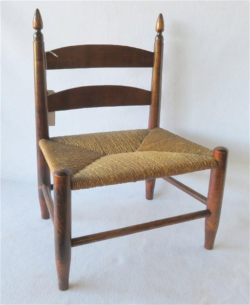 Shaker style chair with ladder back and original rush