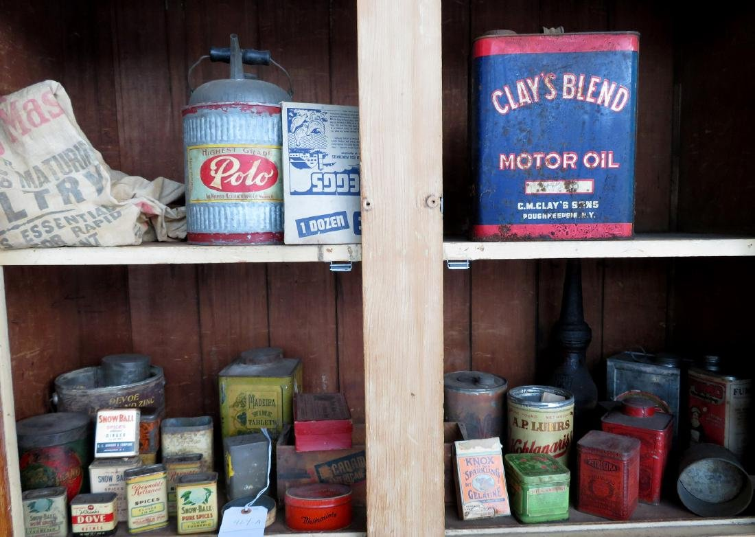 Large lot of advertising tins including Clay's Blend