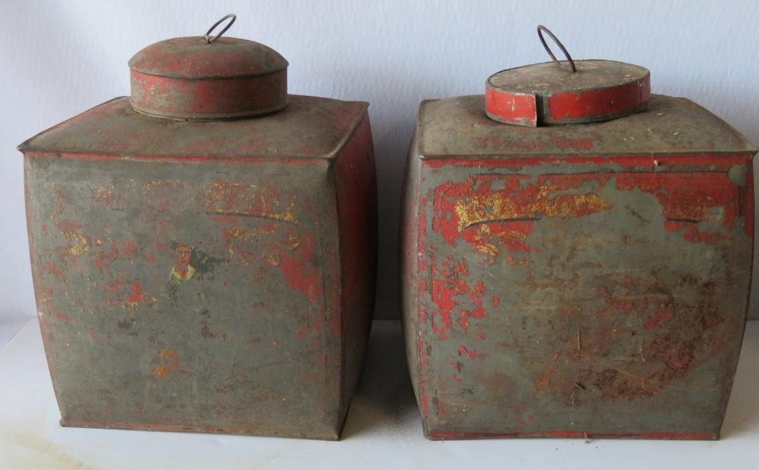 Four tin oriental tea bins in original red paint with - 2