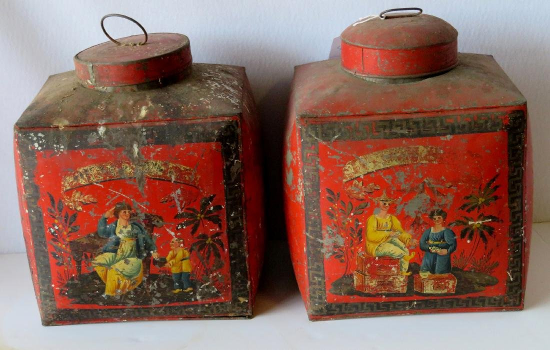 Four tin oriental tea bins in original red paint with - 3
