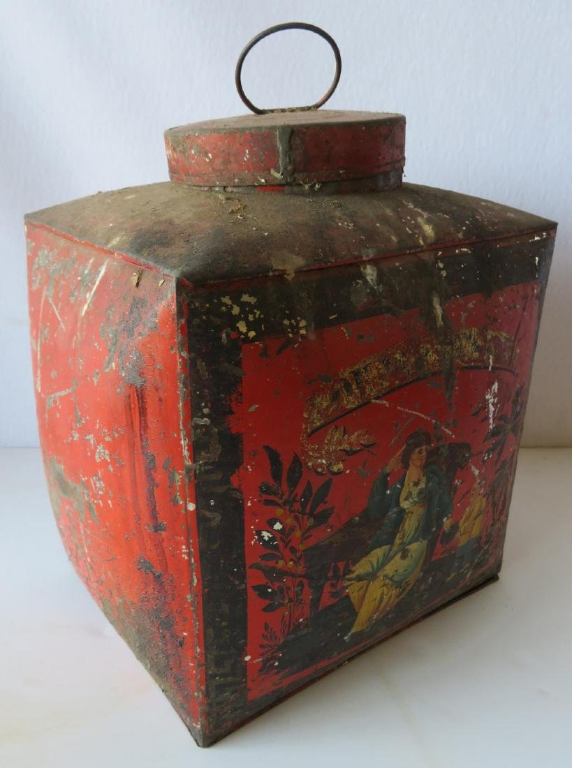 Four tin oriental tea bins in original red paint with - 4
