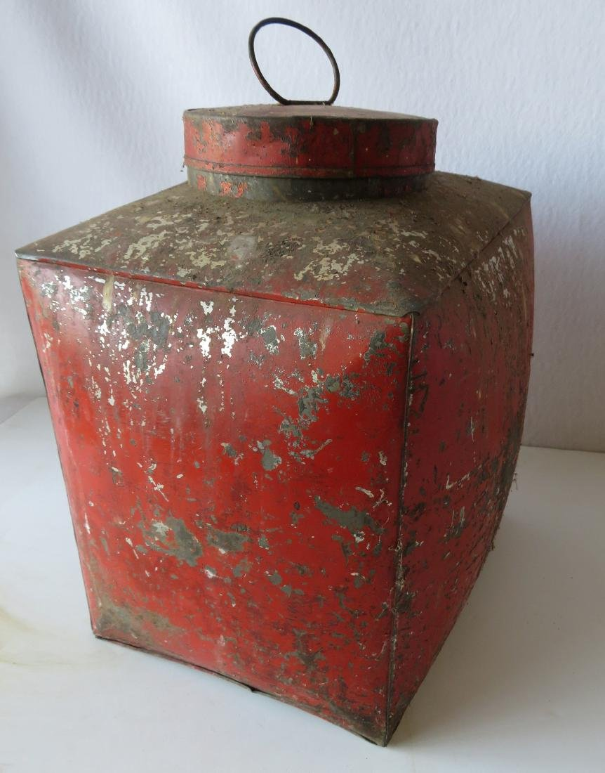 Four tin oriental tea bins in original red paint with - 5