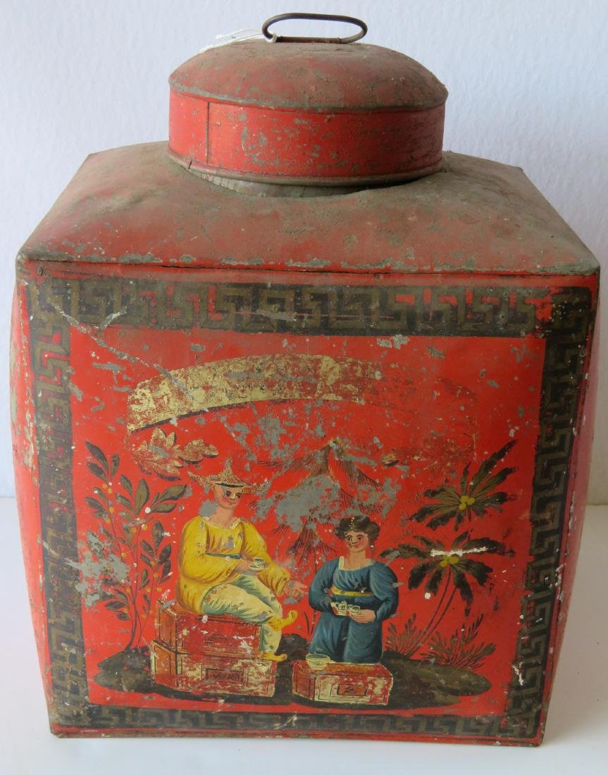 Four tin oriental tea bins in original red paint with - 6