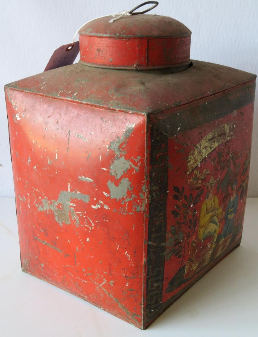 Four tin oriental tea bins in original red paint with - 7