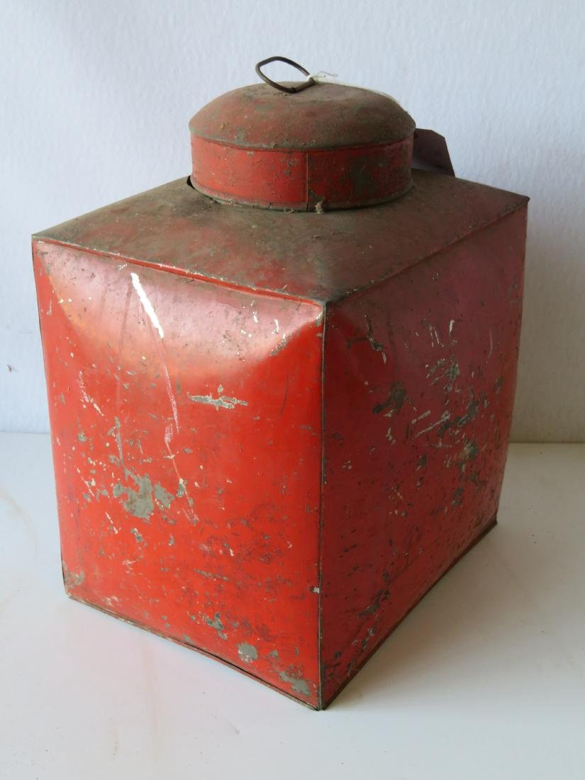 Four tin oriental tea bins in original red paint with - 8