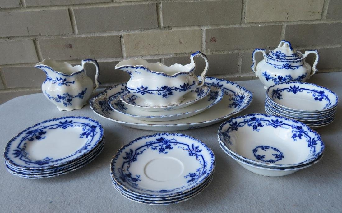 Grouping of signed Johnson Bros - England, flow blue