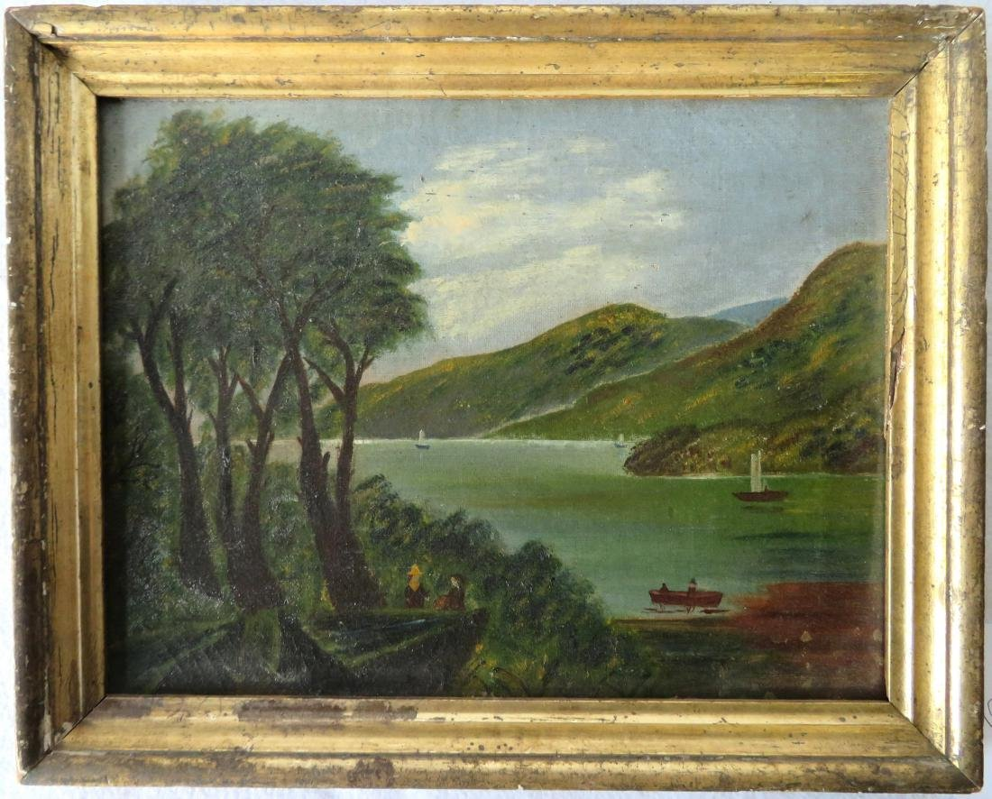 O/C Hudson Valley scene with sailboats and rowboat in