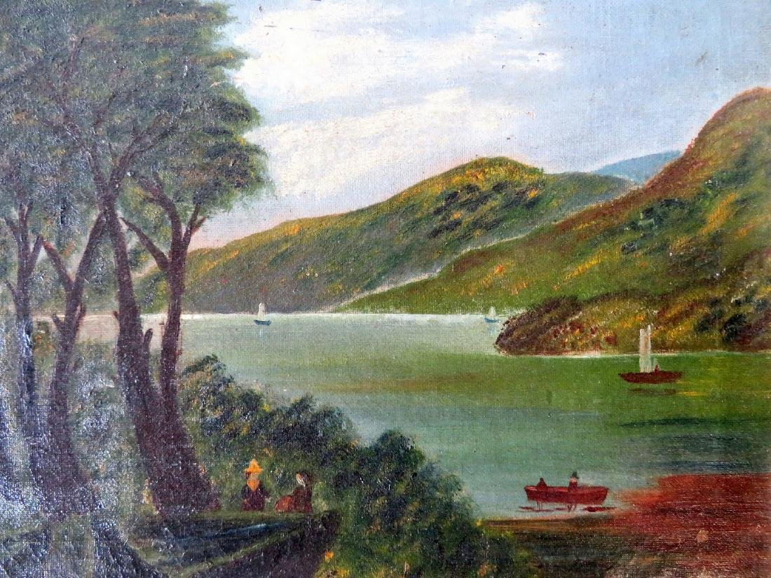O/C Hudson Valley scene with sailboats and rowboat in - 2