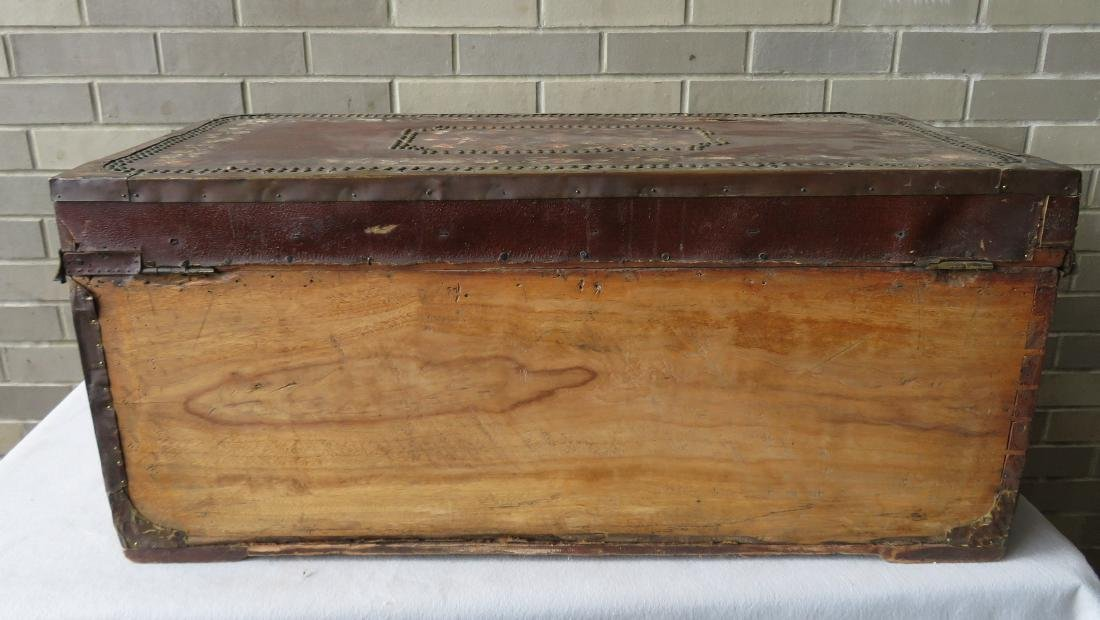 Early leather bound camphor wood storage box heavily - 10