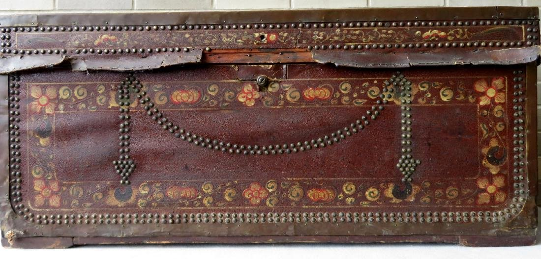 Early leather bound camphor wood storage box heavily - 2