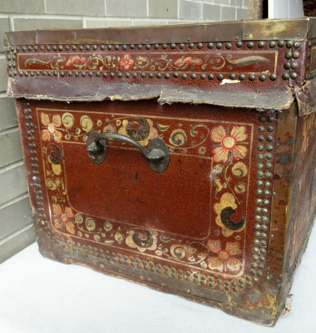 Early leather bound camphor wood storage box heavily - 3