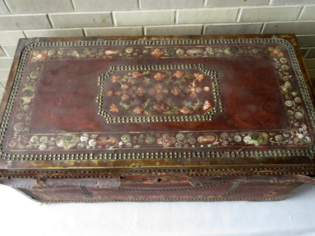 Early leather bound camphor wood storage box heavily - 6