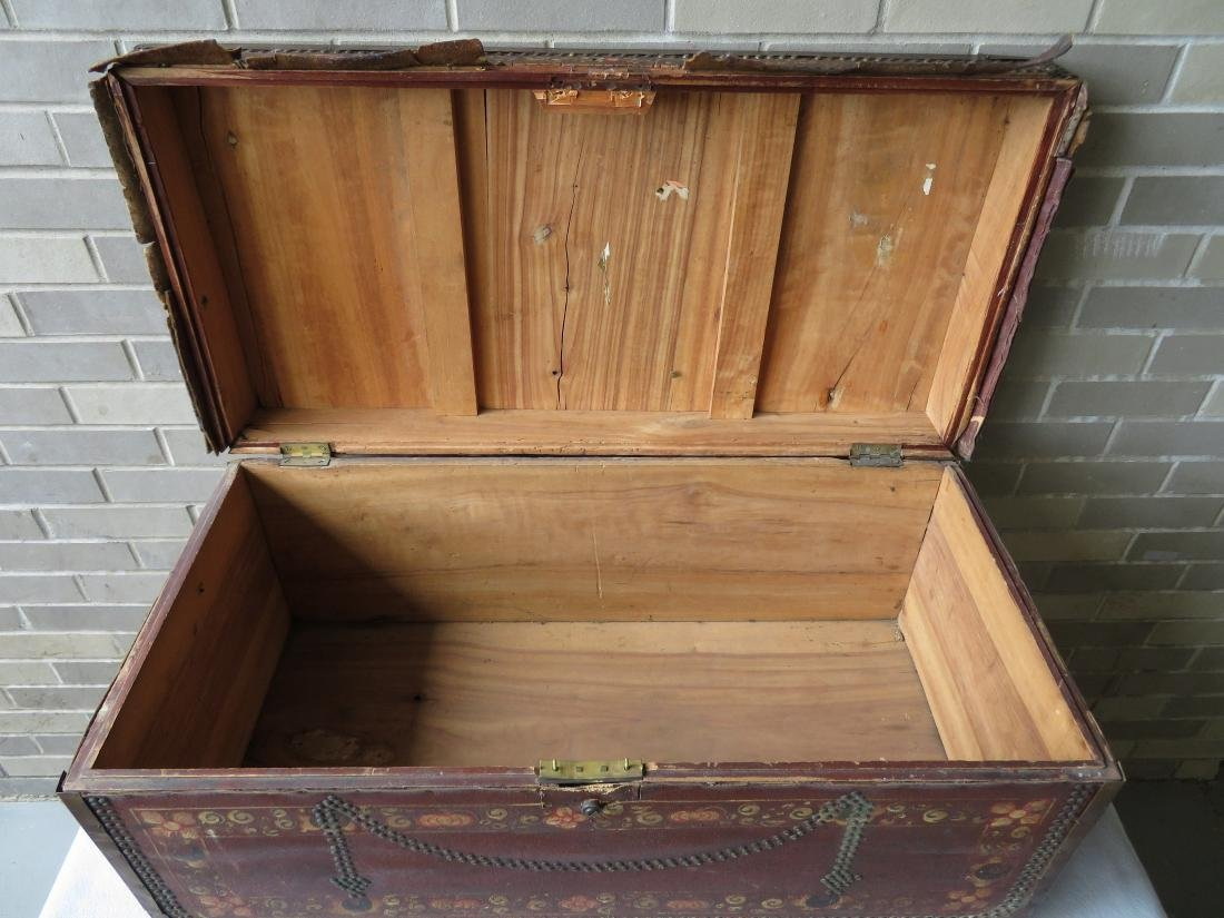 Early leather bound camphor wood storage box heavily - 7