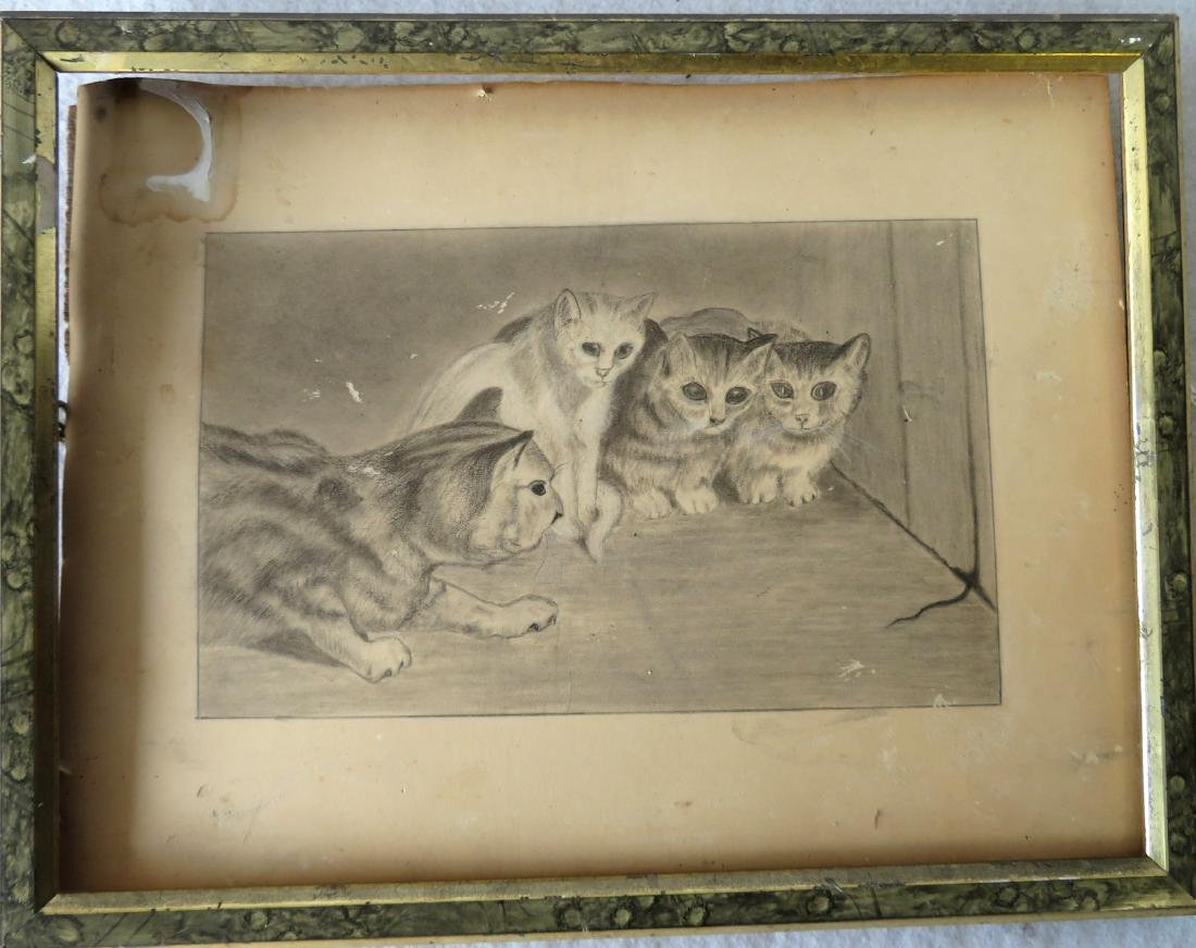 Whimsical graphite drawing of 4 cats watching a mouse's