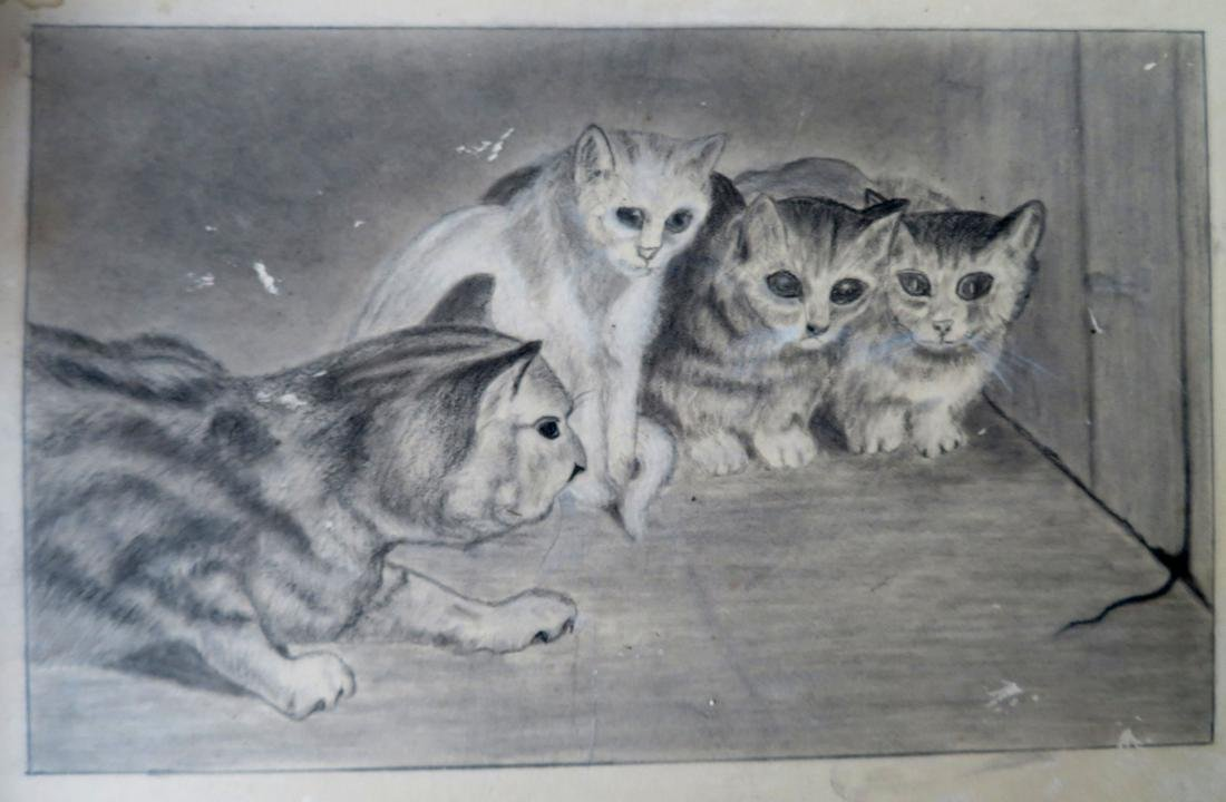 Whimsical graphite drawing of 4 cats watching a mouse's - 3