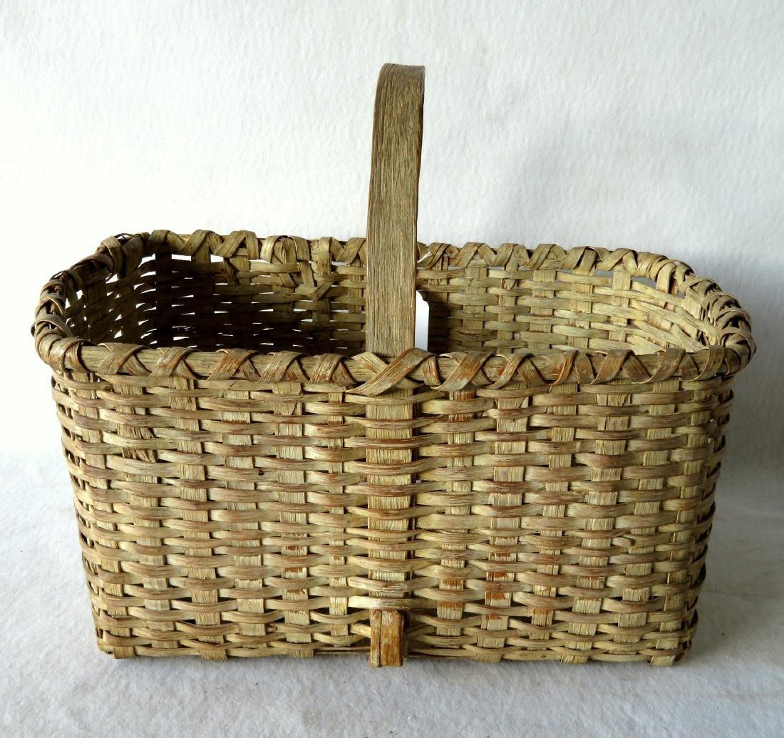 Early splint market basket in old white paint, 19th